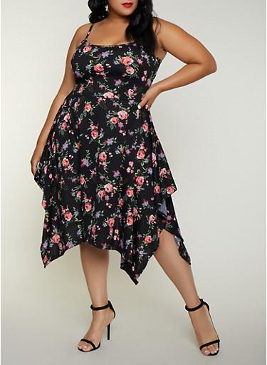 Plus Size Floral Asymmetrical Skater Dress