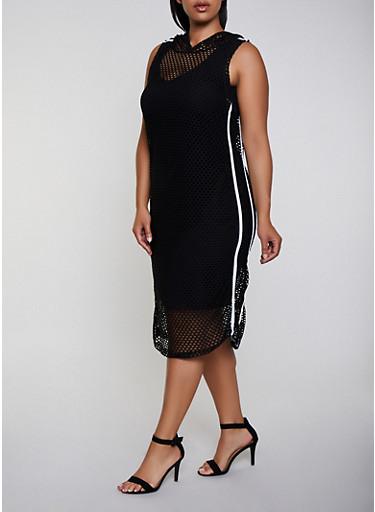 Plus Size Fishnet Hooded Dress