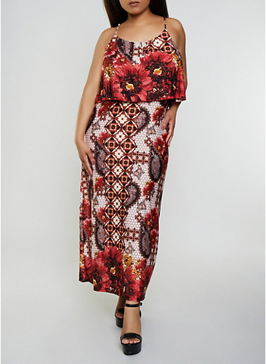 Plus Size Floral Overlay Maxi Dress,RUST,large