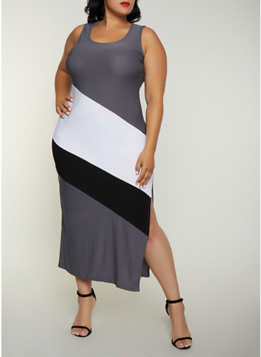 Plus Size Color Block Maxi Tank Dress,CHARCOAL,large