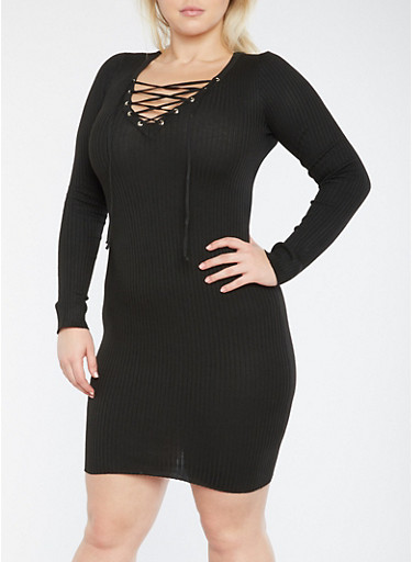 Plus Size Rib Knit Lace Up Sweater Dress,BLACK,large