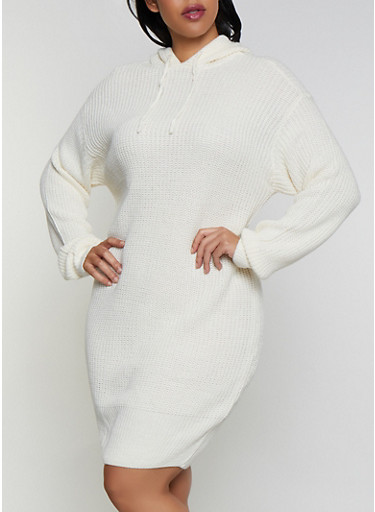 Plus Size Long Sleeve Hooded Sweater Dress,IVORY,large