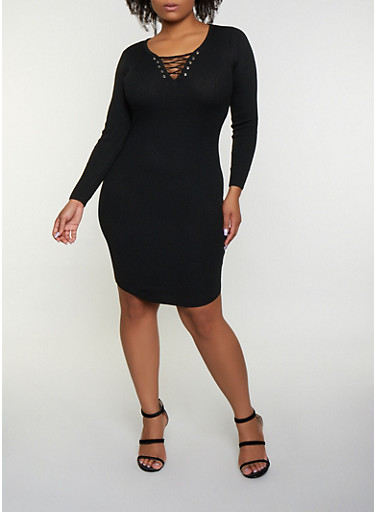 Plus Size Lace Up Sweater Dress | 3390051060091,BLACK,large