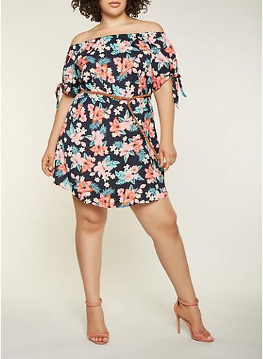Plus Size Printed Off the Shoulder Dress,NAVY,large