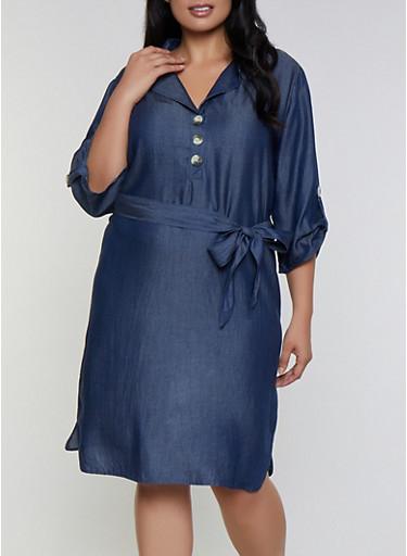 Plus Size Chambray Half Button Dress