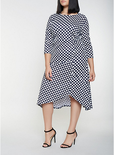 Plus Size Polka Dot Midi Dress,NAVY,large
