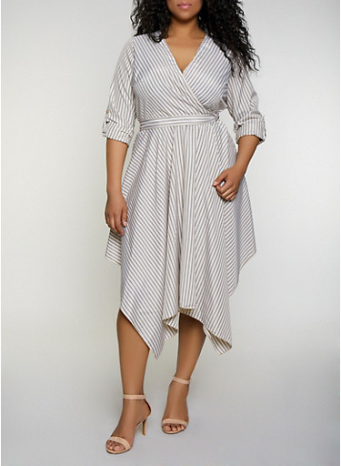 Plus Size Striped Faux Wrap Dress | 3390056121504,NATURAL,large