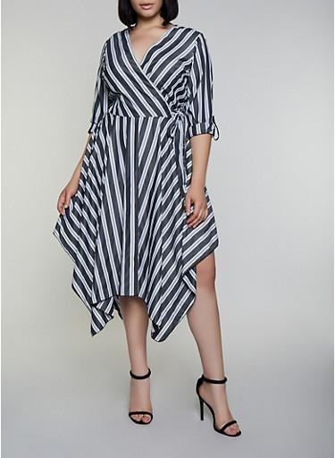 Plus Size Asymmetrical Striped Faux Wrap Dress,CHARCOAL,large