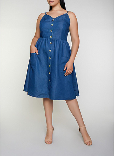 Plus Size Button Front Chambray Skater Dress,DARK WASH,large