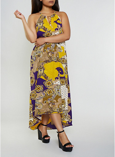 Plus Size Printed Keyhole Crepe Knit Maxi Dress,PURPLE,large