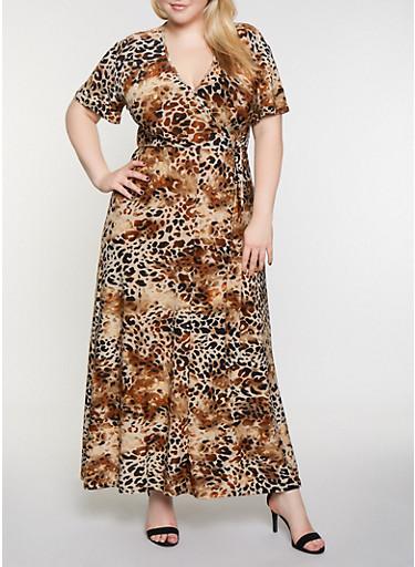 Plus Size Faux Wrap Animal Print Maxi Dress,KHAKI,large