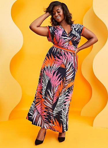 Plus Size Faux Wrap Tropical Print Maxi Dress