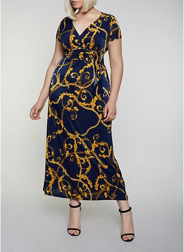 Plus Size Status Chain Print Faux Wrap Maxi Dress,NAVY,large
