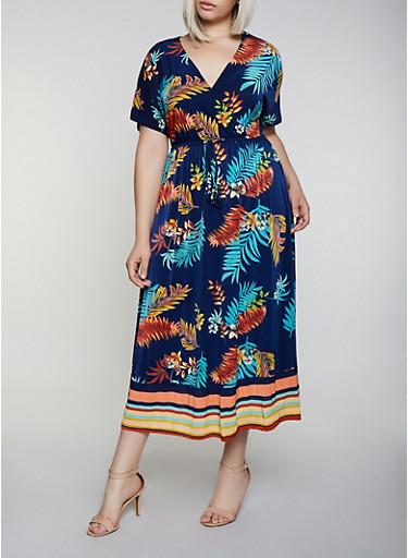 Plus Size Tropical Border Print Faux Wrap Maxi Dress,NAVY,large