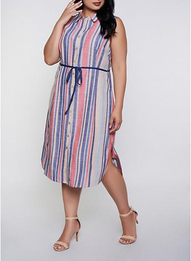 Plus Size Striped Linen Tie Waist Shirt Dress,BLUE,large