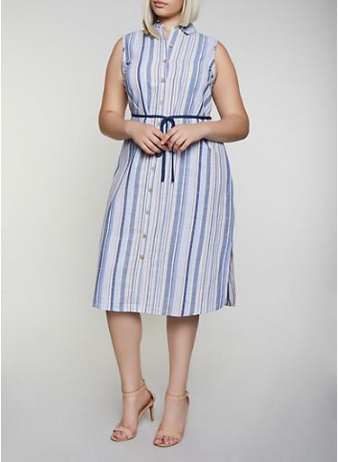 Plus Size Striped Linen Shirt Dress