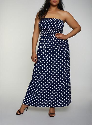 Plus Size Polka Dot Crepe Knit Maxi Dress