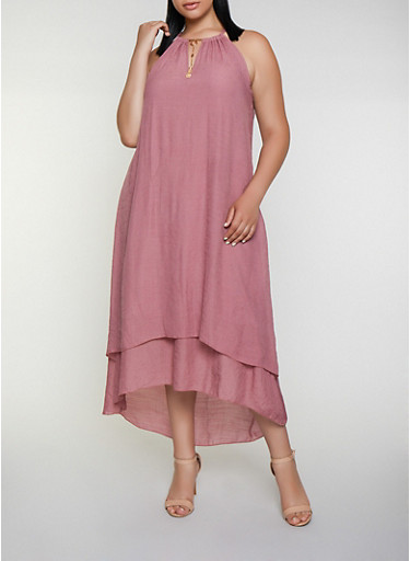 Plus Size Gauze Knit Tassel Neckline Shift Dress,ROSE,large