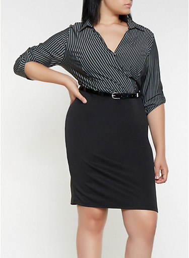 Plus Size Faux Wrap Striped and Solid Dress | Tuggl