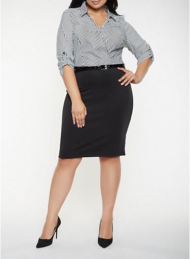 Plus Size Striped Faux Wrap Dress,BLACK/WHITE,large