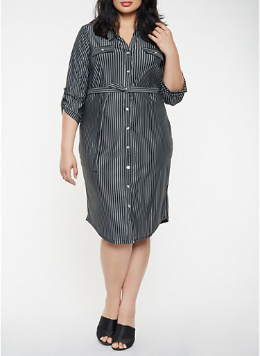 Plus Size Striped Shirt Dress,BLACK/WHITE,large