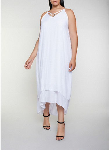 Plus Size Gauze Knit O Ring Detail Maxi Dress,WHITE,large