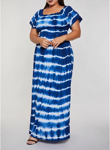 Plus Size Tie Dye Maxi Dress | 3390056122053,BLUE,large