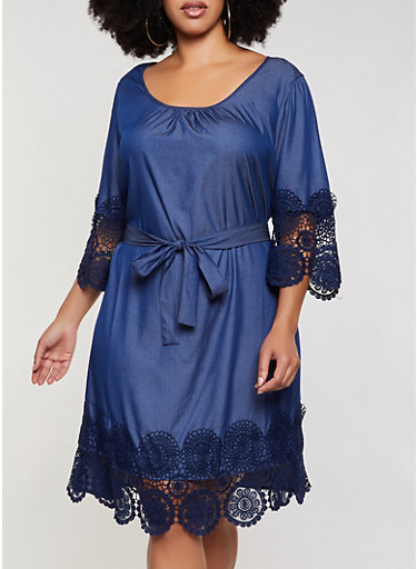 Plus Size Belted Crochet Trim Dress,DENIM,large