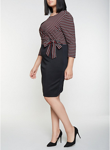 Plus Size Striped Faux Wrap Dress,RED,large