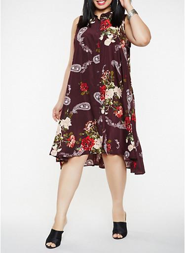 Plus Size Sleeveless Printed Shirt Dress,WINE,large