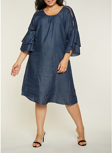 Plus Size Crochet Insert Tiered Sleeve Denim Dress,DENIM,large