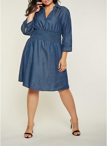 Plus Size Smocked Waist Denim Dress,DENIM,large