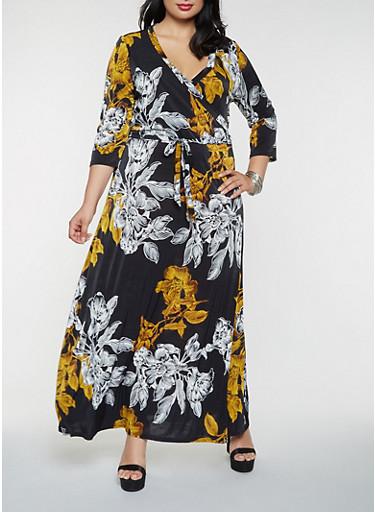 Plus Size Floral Faux Wrap Maxi Dress,BLACK,large