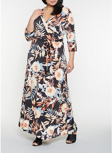 Plus Size Floral Faux Wrap Maxi Dress,NAVY,large