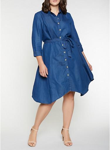 Plus Size Denim Button Front Dress,DENIM,large