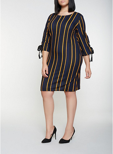 Plus Size Lace Up Sleeve Striped Dress,NAVY,large