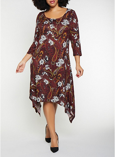 Plus Size Printed Asymmetrical Dress with Necklace,WINE,large