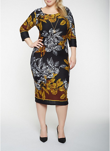 Plus Size Floral Sweater Dress with Necklace,BLACK,large