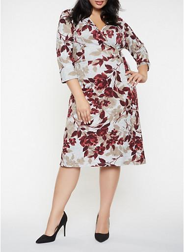 Plus Size Printed Faux Wrap Dress,GRAY,large