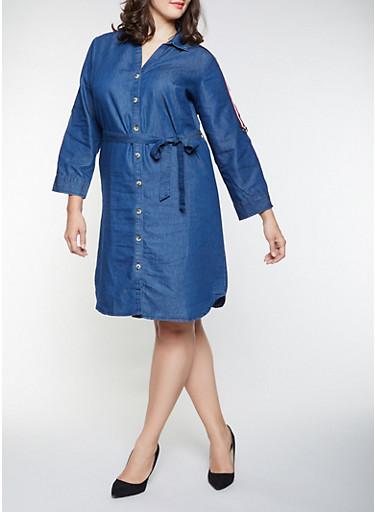 Plus Size Striped Tape Detail Shirt Dress,DENIM,large