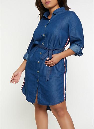 Plus Size Striped Tape Denim Dress,DENIM,large