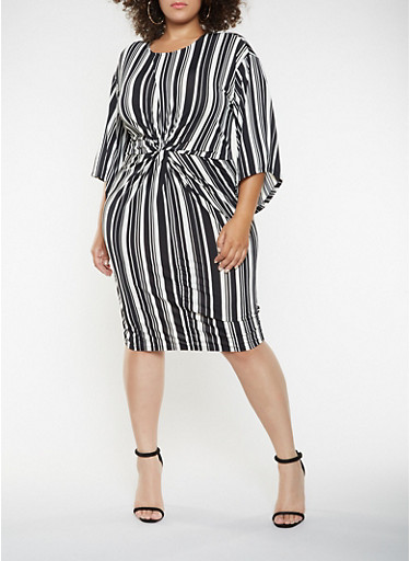 Plus Size Twist Front Printed Dress,BLACK/WHITE,large