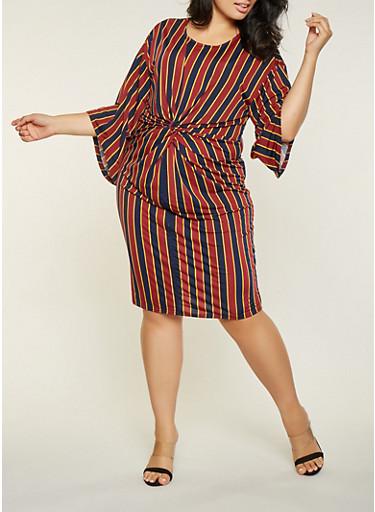 Plus Size Striped Twist Front Dress,WINE,large