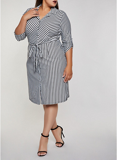 Plus Size Striped Tie Waist Shirt Dress | 3390056123059