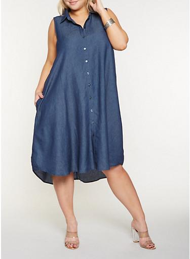 Plus Size Chambray Shirt Dress,DENIM,large