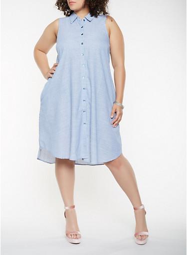 Plus Size Striped Shirt Dress,NAVY,large