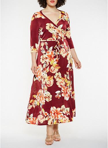 Plus Size Printed Faux Wrap Maxi Dress,WINE,large
