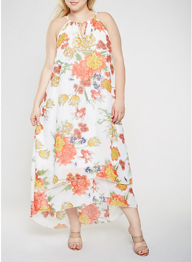 Plus Size Floral Tiered Maxi Dress,WHITE,large