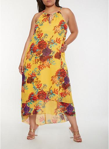 Plus Size Sleeveless Floral Maxi Dress,GOLD,large