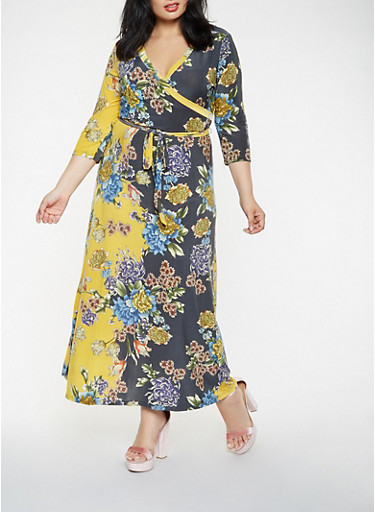 Plus Size Printed Faux Wrap Maxi Dress,OLIVE,large